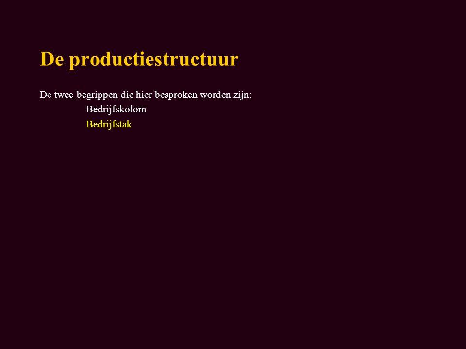 De productiestructuur De twee begrippen die hier besproken worden zijn: Bedrijfskolom Bedrijfstak