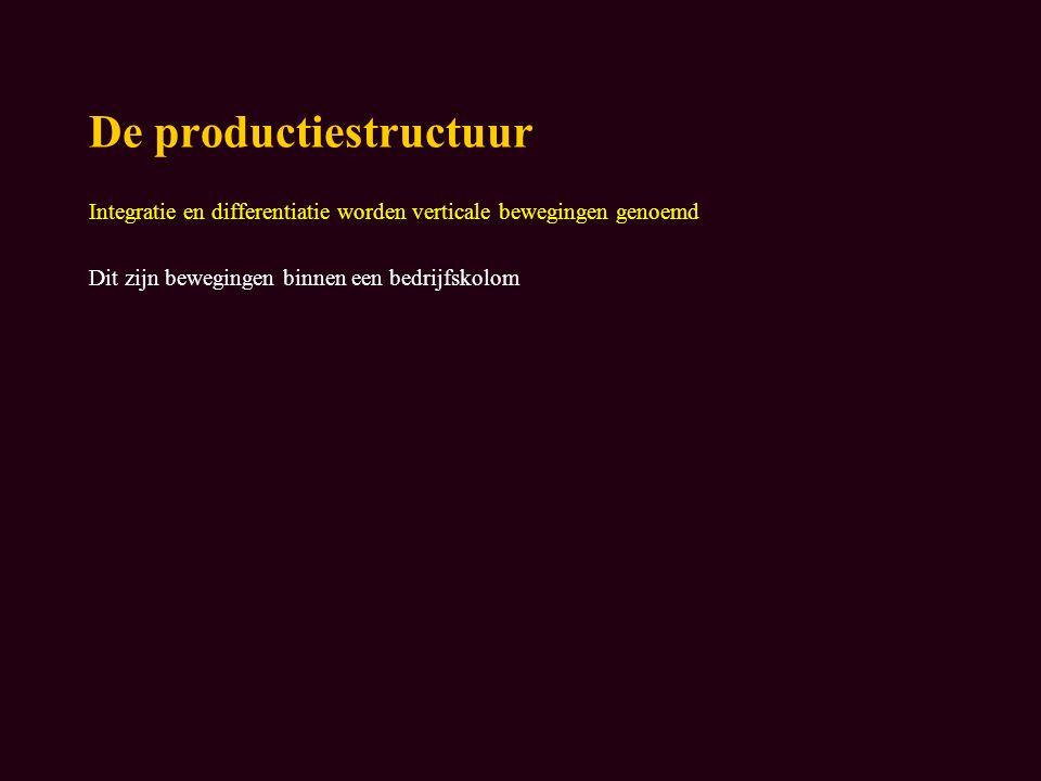 De productiestructuur Integratie en differentiatie worden verticale bewegingen genoemd Dit zijn bewegingen binnen een bedrijfskolom