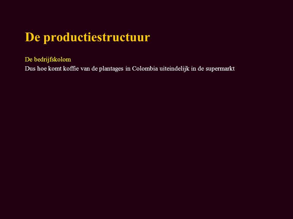 De productiestructuur De bedrijfskolom Dus hoe komt koffie van de plantages in Colombia uiteindelijk in de supermarkt