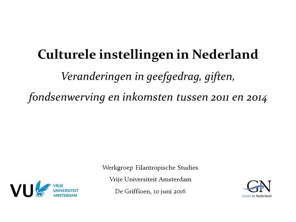 Culturele instellingen in Nederland Veranderingen in geefgedrag, giften, fondsenwerving en inkomsten tussen 2011 en 2014 Werkgroep Filantropische Stud