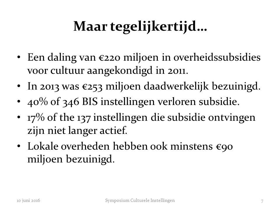 Maar tegelijkertijd… Een daling van €220 miljoen in overheidssubsidies voor cultuur aangekondigd in 2011. In 2013 was €253 miljoen daadwerkelijk bezui
