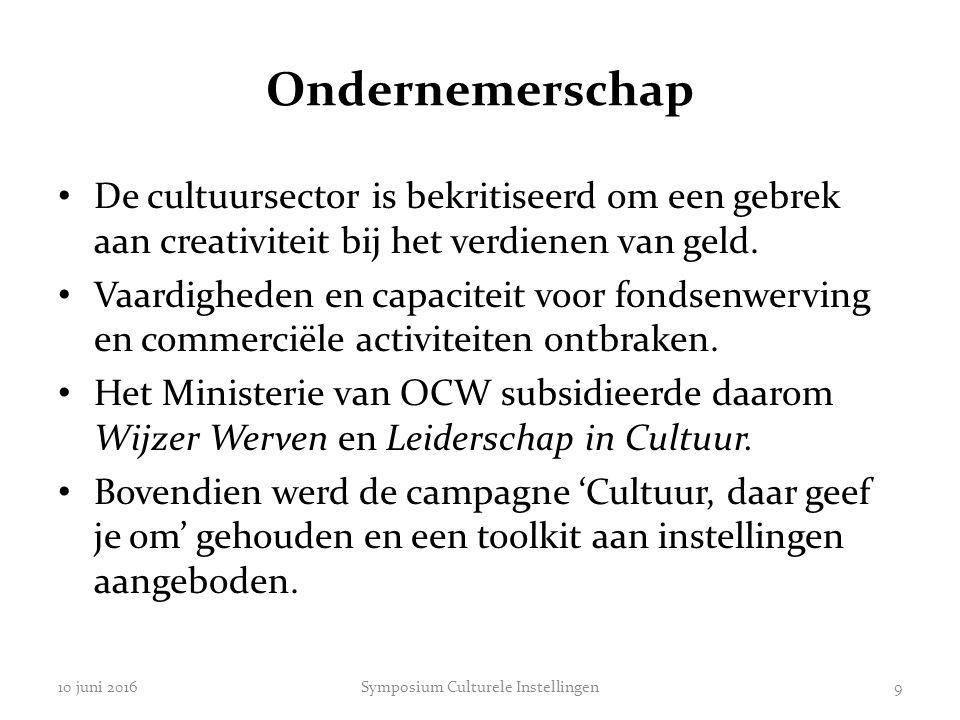 Ondernemerschap De cultuursector is bekritiseerd om een gebrek aan creativiteit bij het verdienen van geld. Vaardigheden en capaciteit voor fondsenwer
