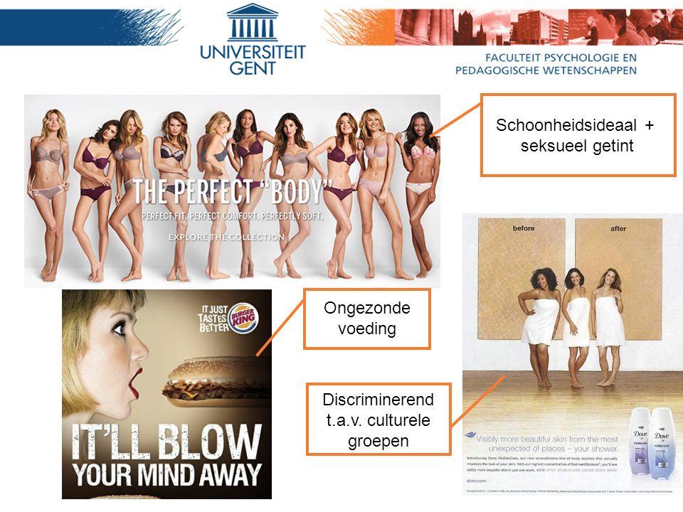 Schoonheidsideaal + seksueel getint Discriminerend t.a.v. culturele groepen Ongezonde voeding