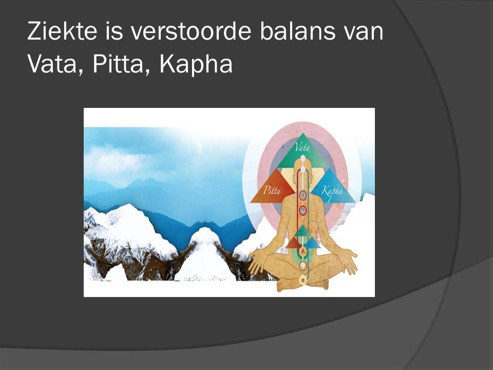 Ziekte is verstoorde balans van Vata, Pitta, Kapha
