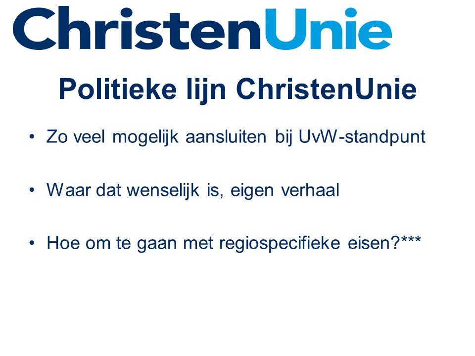 Politieke lijn ChristenUnie Zo veel mogelijk aansluiten bij UvW-standpunt Waar dat wenselijk is, eigen verhaal Hoe om te gaan met regiospecifieke eisen?***