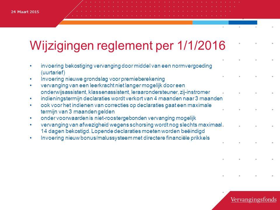 24 Maart 2015 Wijzigingen reglement per 1/1/2016 invoering bekostiging vervanging door middel van een normvergoeding (uurtarief) Invoering nieuwe gron