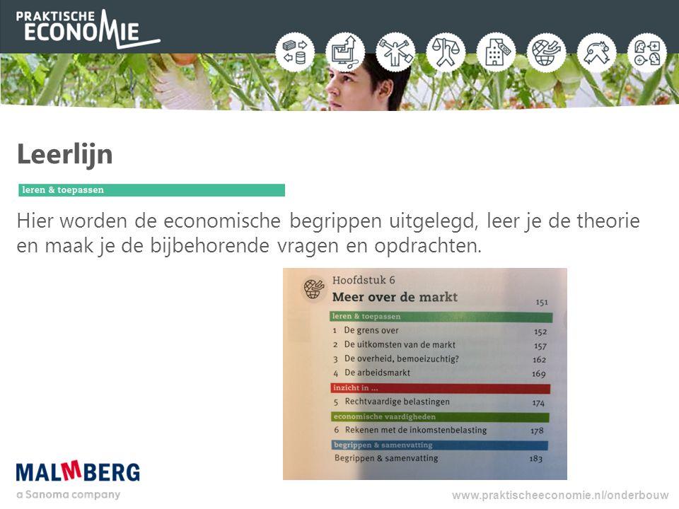 Leerlijn Hier worden de economische begrippen uitgelegd, leer je de theorie en maak je de bijbehorende vragen en opdrachten. www.praktischeeconomie.nl