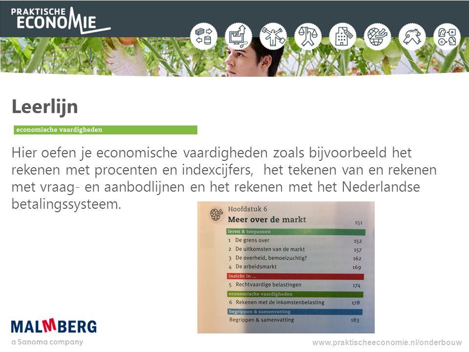 Leerlijn Hier oefen je economische vaardigheden zoals bijvoorbeeld het rekenen met procenten en indexcijfers, het tekenen van en rekenen met vraag- en aanbodlijnen en het rekenen met het Nederlandse betalingssysteem.