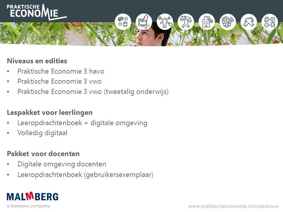 Niveaus en edities Praktische Economie 3 havo Praktische Economie 3 vwo Praktische Economie 3 vwo (tweetalig onderwijs) Lespakket voor leerlingen Leer