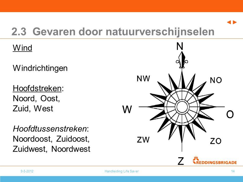 9-5-2012Handleiding Life Saver14 2.3 Gevaren door natuurverschijnselen Wind Windrichtingen Hoofdstreken: Noord, Oost, Zuid, West Hoofdtussenstreken: Noordoost, Zuidoost, Zuidwest, Noordwest