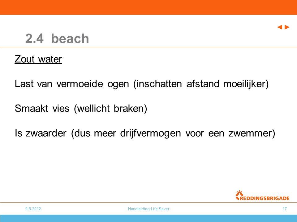 9-5-2012Handleiding Life Saver17 2.4 beach Zout water Last van vermoeide ogen (inschatten afstand moeilijker) Smaakt vies (wellicht braken) Is zwaarder (dus meer drijfvermogen voor een zwemmer)