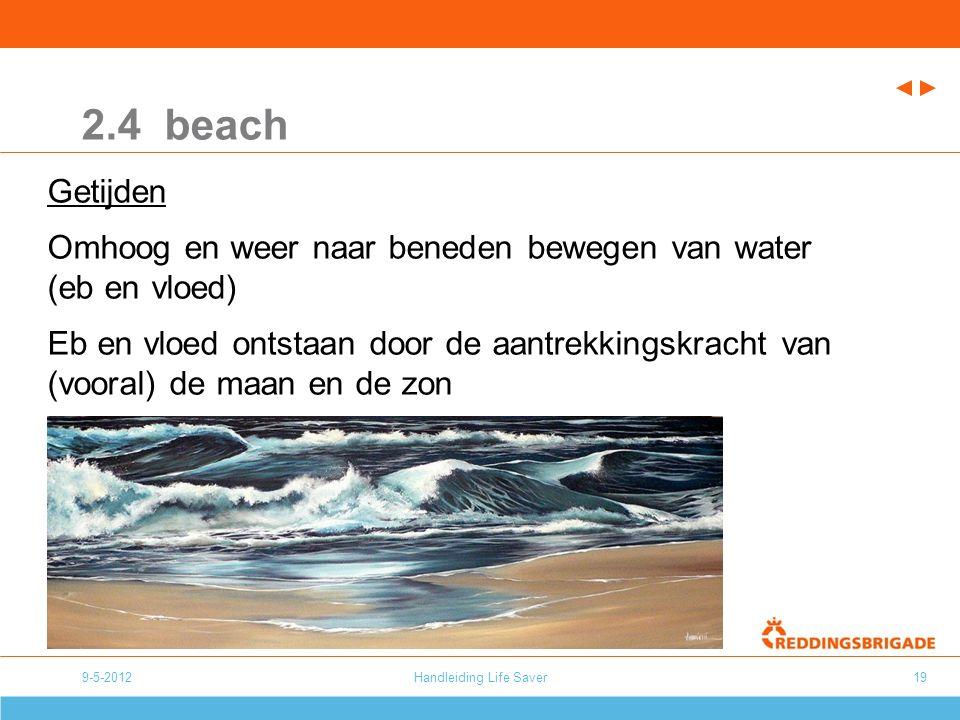 9-5-2012Handleiding Life Saver19 2.4 beach Getijden Omhoog en weer naar beneden bewegen van water (eb en vloed) Eb en vloed ontstaan door de aantrekkingskracht van (vooral) de maan en de zon