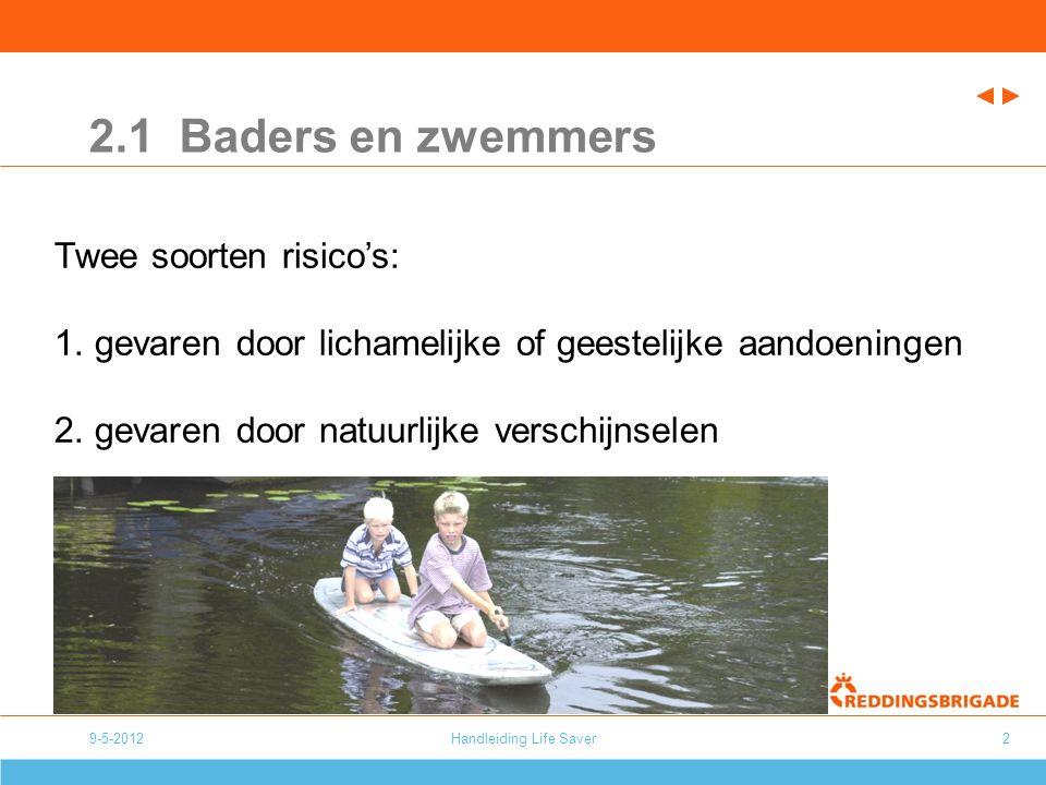 9-5-2012Handleiding Life Saver2 2.1 Baders en zwemmers Twee soorten risico's: 1.