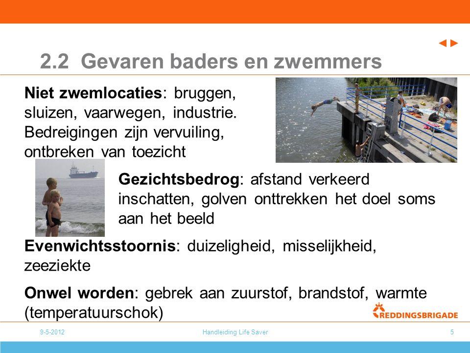 9-5-2012Handleiding Life Saver5 2.2 Gevaren baders en zwemmers Niet zwemlocaties: bruggen, sluizen, vaarwegen, industrie.