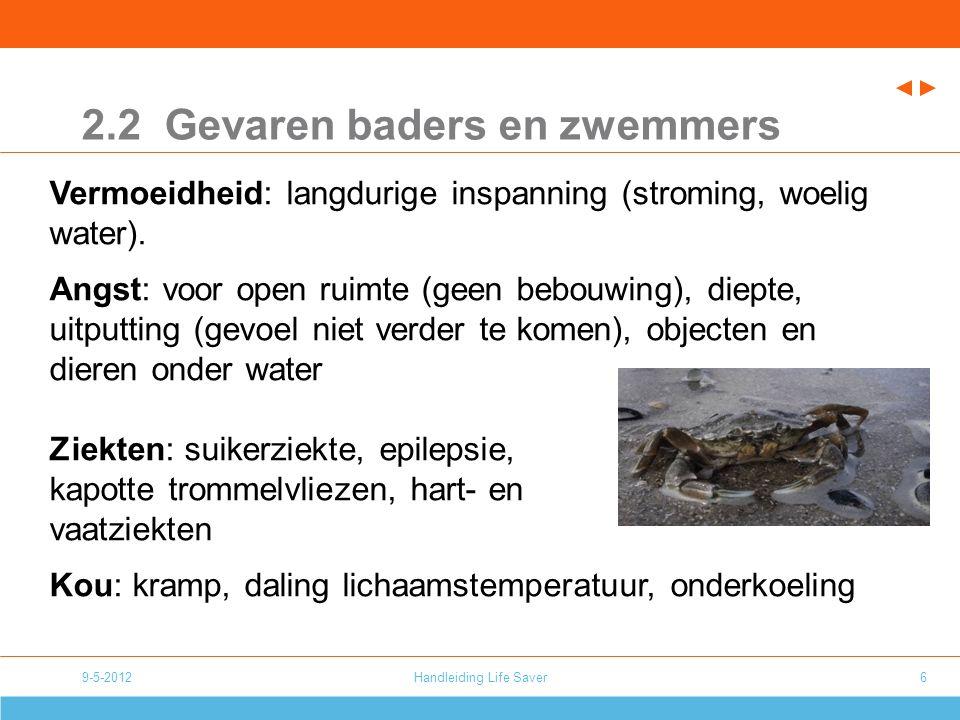 9-5-2012Handleiding Life Saver6 2.2 Gevaren baders en zwemmers Vermoeidheid: langdurige inspanning (stroming, woelig water).