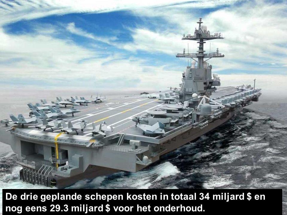 Het kan meer dan 75 vliegtuigen dragen. Er zijn 2 kernmotoren en 'Evolved Sea Sparrow'-raketten.