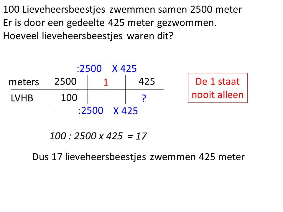 100 Lieveheersbeestjes zwemmen samen 2500 meter Er is door een gedeelte 425 meter gezwommen.