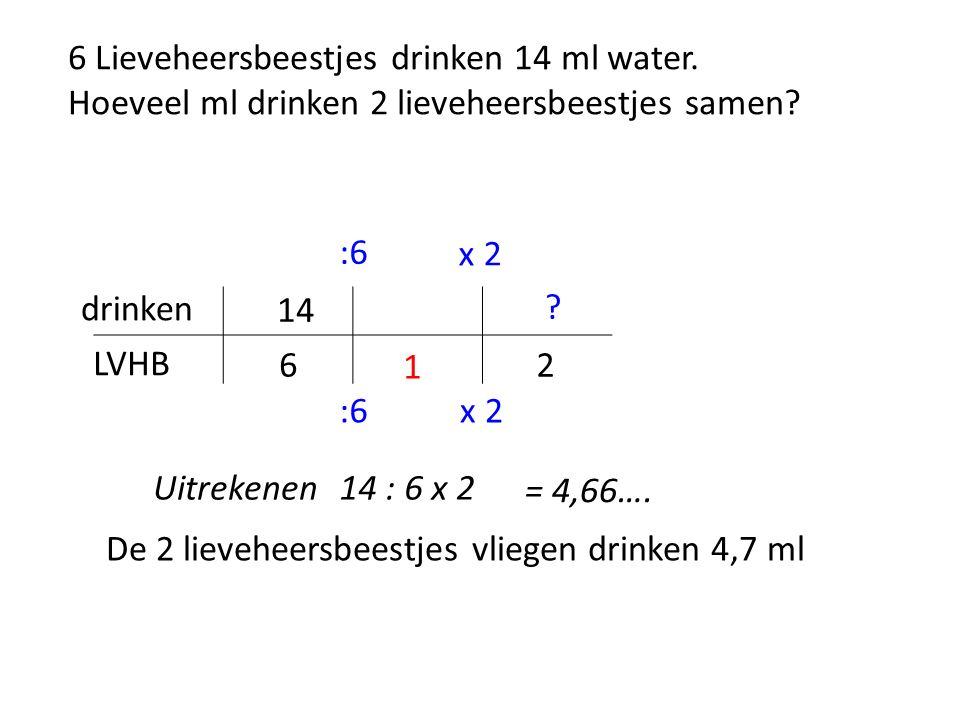 6 Lieveheersbeestjes drinken 14 ml water. Hoeveel ml drinken 2 lieveheersbeestjes samen.