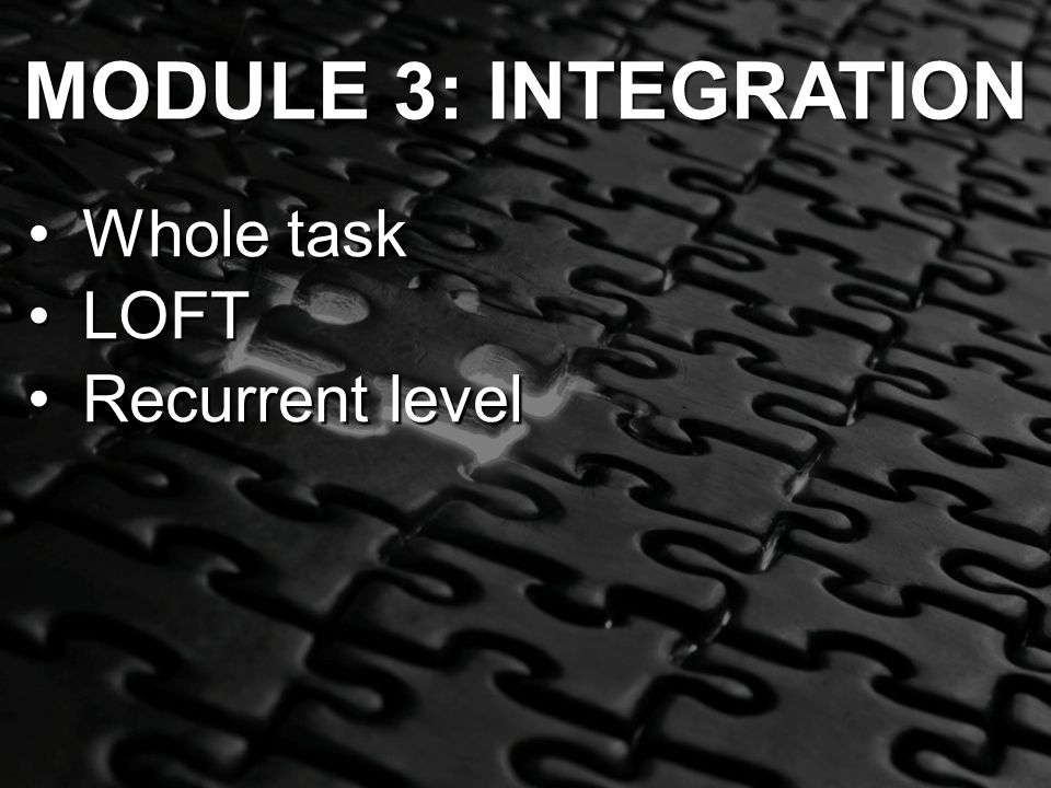 MODULE 3: INTEGRATION Whole taskWhole task LOFTLOFT Recurrent levelRecurrent level