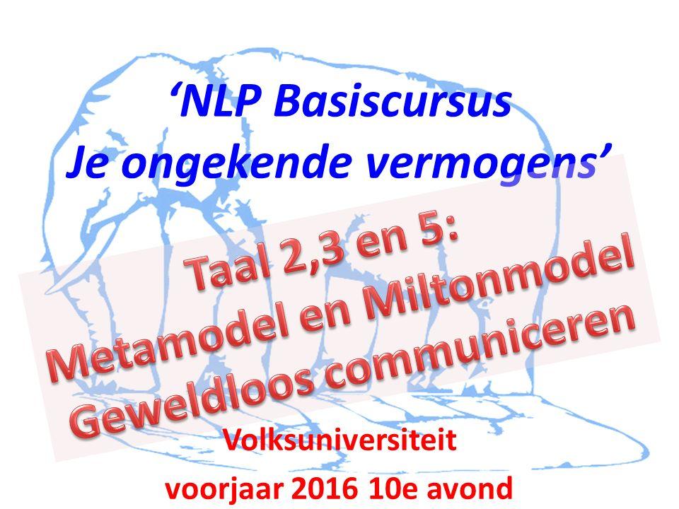 'NLP Basiscursus Je ongekende vermogens' Volksuniversiteit voorjaar 2016 10e avond