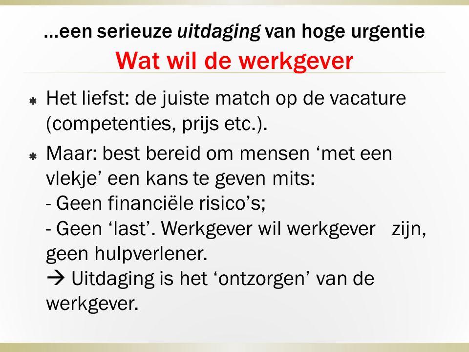 …een serieuze uitdaging van hoge urgentie Wat wil de werkgever  Het liefst: de juiste match op de vacature (competenties, prijs etc.).