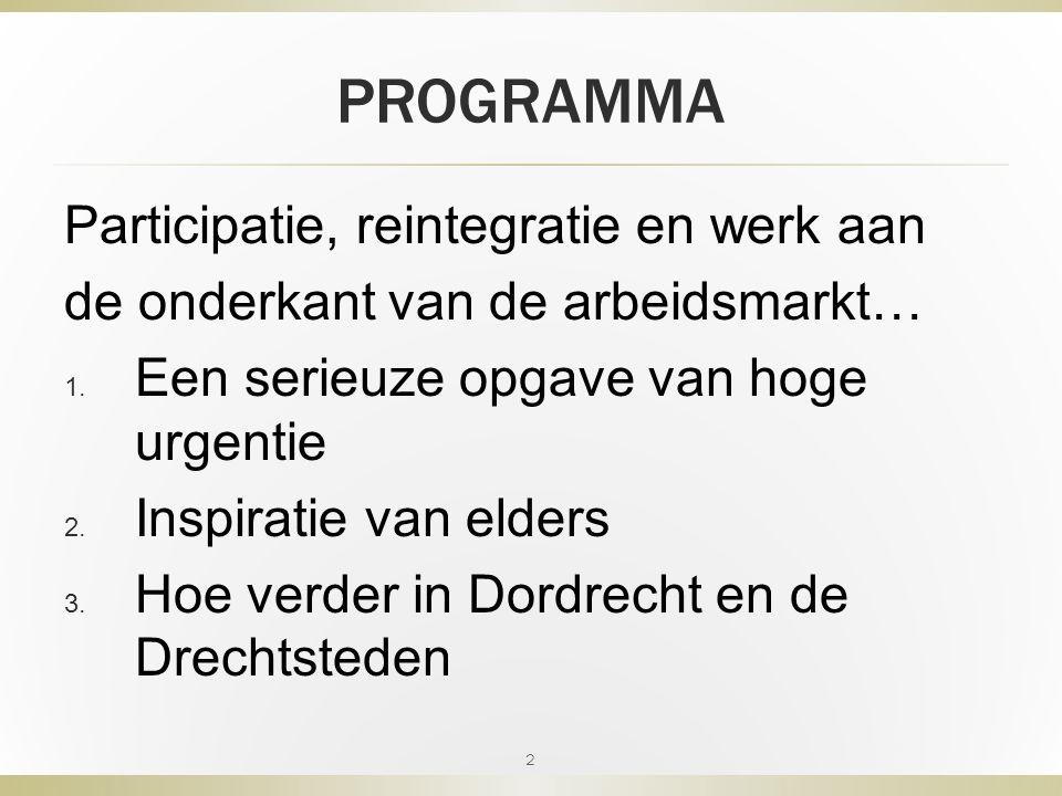 PROGRAMMA Participatie, reintegratie en werk aan de onderkant van de arbeidsmarkt… 1.