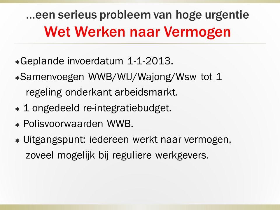 …een serieus probleem van hoge urgentie Wet Werken naar Vermogen  Geplande invoerdatum 1-1-2013.