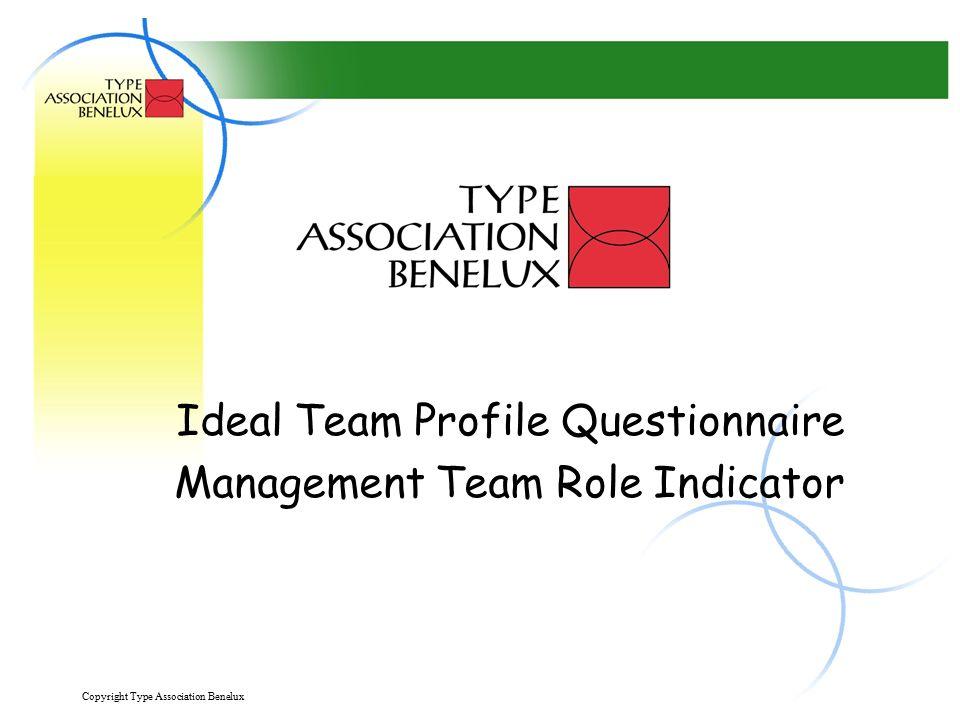 Copyright Type Association Benelux 2 Teamrollen geven inzicht in: Jouw individuele bijdrage aan het team De relatie van deze bijdrage aan de doelstellingen van jouw team.