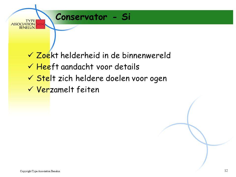 Copyright Type Association Benelux 12 Conservator - Si Zoekt helderheid in de binnenwereld Heeft aandacht voor details Stelt zich heldere doelen voor ogen Verzamelt feiten