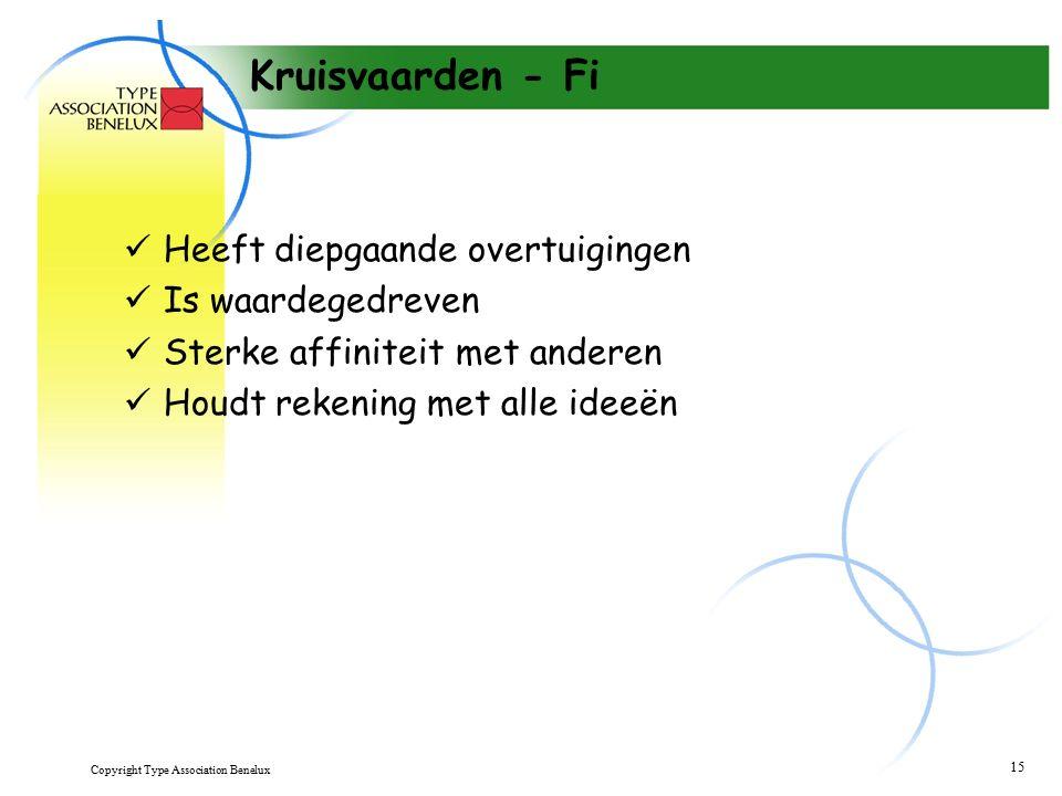 Copyright Type Association Benelux 15 Kruisvaarden - Fi Heeft diepgaande overtuigingen Is waardegedreven Sterke affiniteit met anderen Houdt rekening met alle ideeën