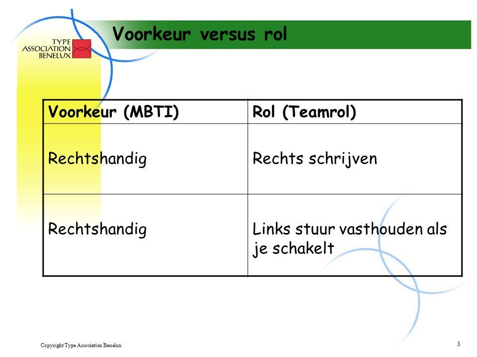 Copyright Type Association Benelux 3 Voorkeur versus rol Voorkeur (MBTI)Rol (Teamrol) RechtshandigRechts schrijven RechtshandigLinks stuur vasthouden als je schakelt