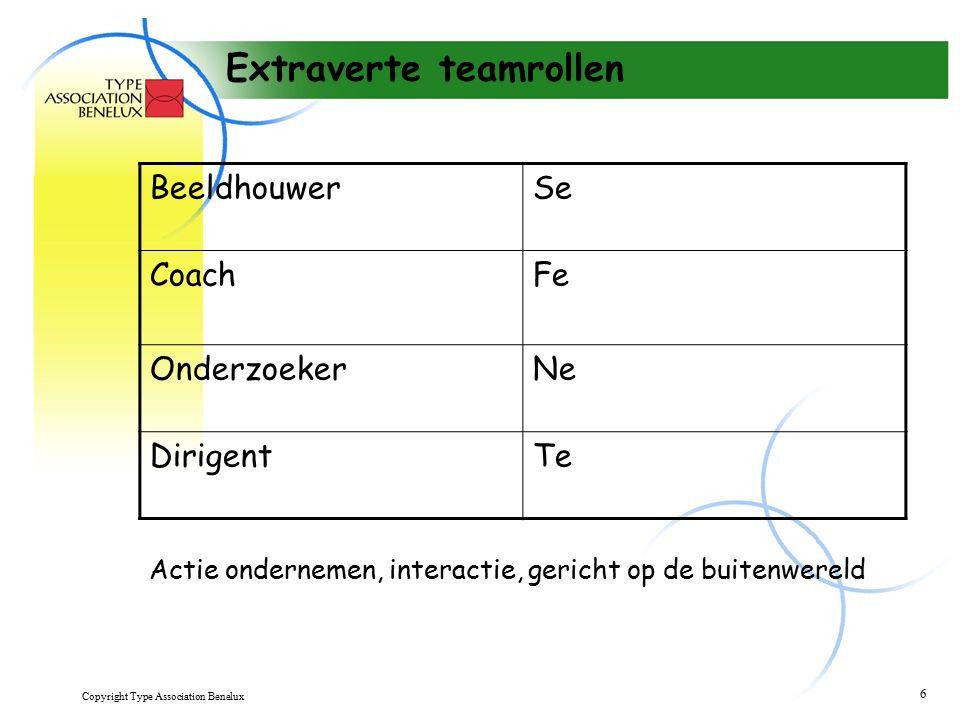 Copyright Type Association Benelux 6 Extraverte teamrollen BeeldhouwerSe CoachFe OnderzoekerNe DirigentTe Actie ondernemen, interactie, gericht op de buitenwereld
