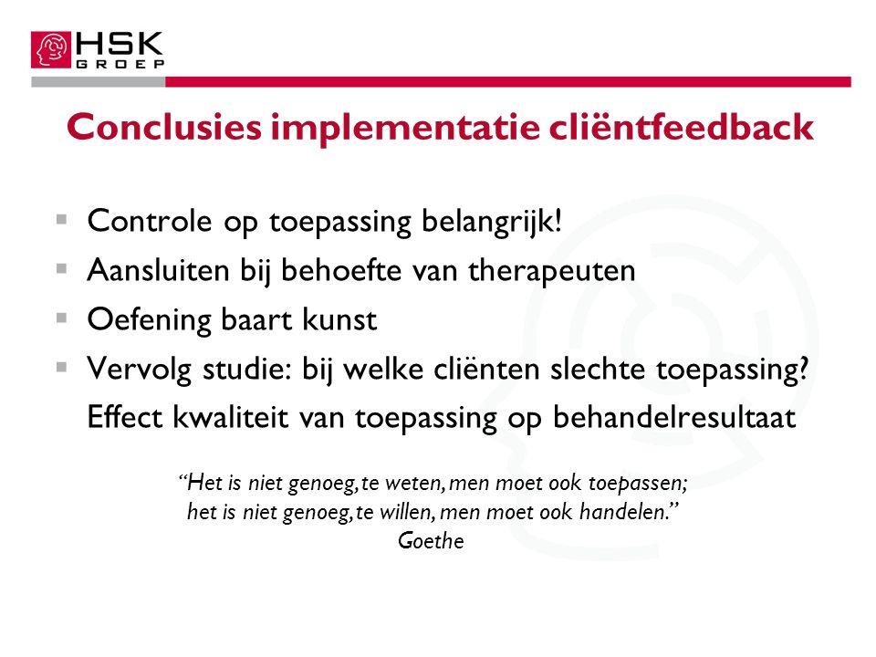 Conclusies implementatie cliëntfeedback  Controle op toepassing belangrijk.