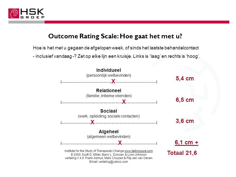 Outcome Rating Scale: Hoe gaat het met u.
