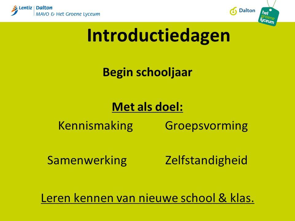 Introductiedagen Begin schooljaar Met als doel: KennismakingGroepsvorming SamenwerkingZelfstandigheid Leren kennen van nieuwe school & klas.