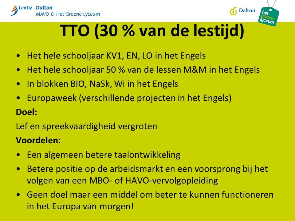 TTO (30 % van de lestijd) Het hele schooljaar KV1, EN, LO in het Engels Het hele schooljaar 50 % van de lessen M&M in het Engels In blokken BIO, NaSk, Wi in het Engels Europaweek (verschillende projecten in het Engels) Doel: Lef en spreekvaardigheid vergroten Voordelen: Een algemeen betere taalontwikkeling Betere positie op de arbeidsmarkt en een voorsprong bij het volgen van een MBO- of HAVO-vervolgopleiding Geen doel maar een middel om beter te kunnen functioneren in het Europa van morgen!