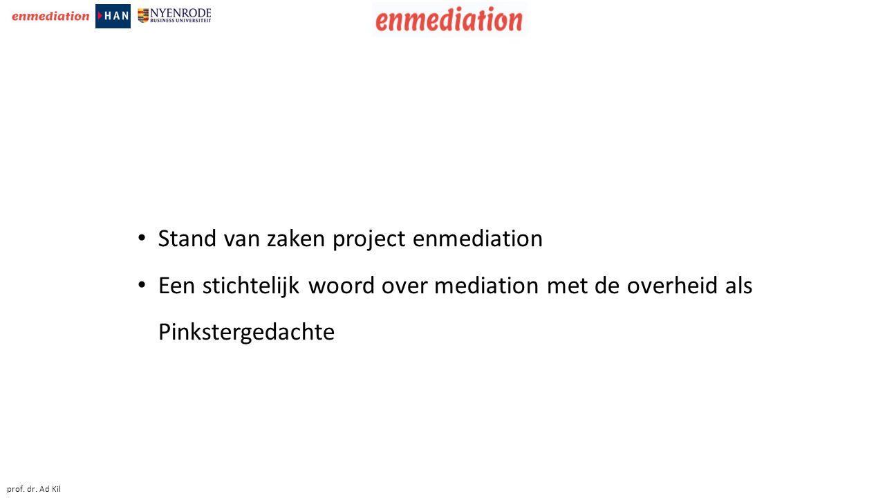 Stand van zaken project enmediation Een stichtelijk woord over mediation met de overheid als Pinkstergedachte prof.