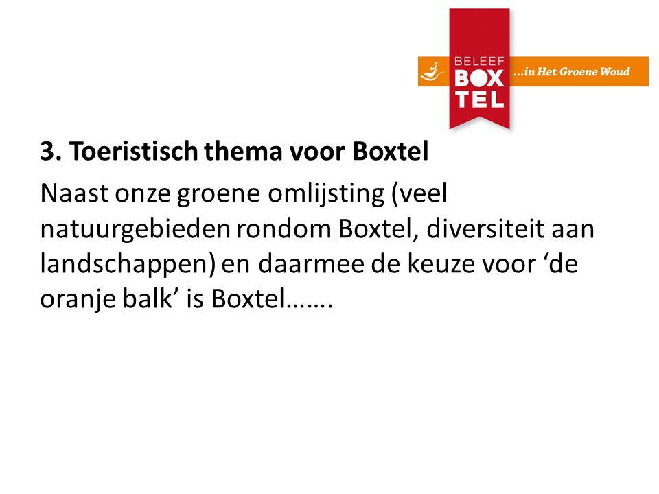 3. Toeristisch thema voor Boxtel Naast onze groene omlijsting (veel natuurgebieden rondom Boxtel, diversiteit aan landschappen) en daarmee de keuze vo