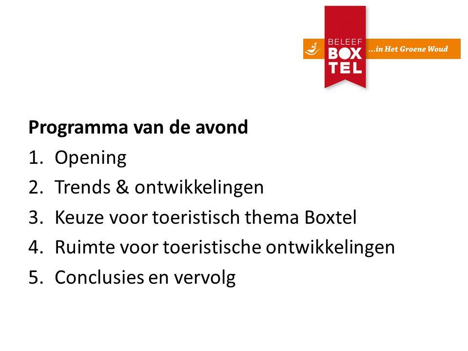 Programma van de avond 1.Opening 2.Trends & ontwikkelingen 3.Keuze voor toeristisch thema Boxtel 4.Ruimte voor toeristische ontwikkelingen 5.Conclusies en vervolg