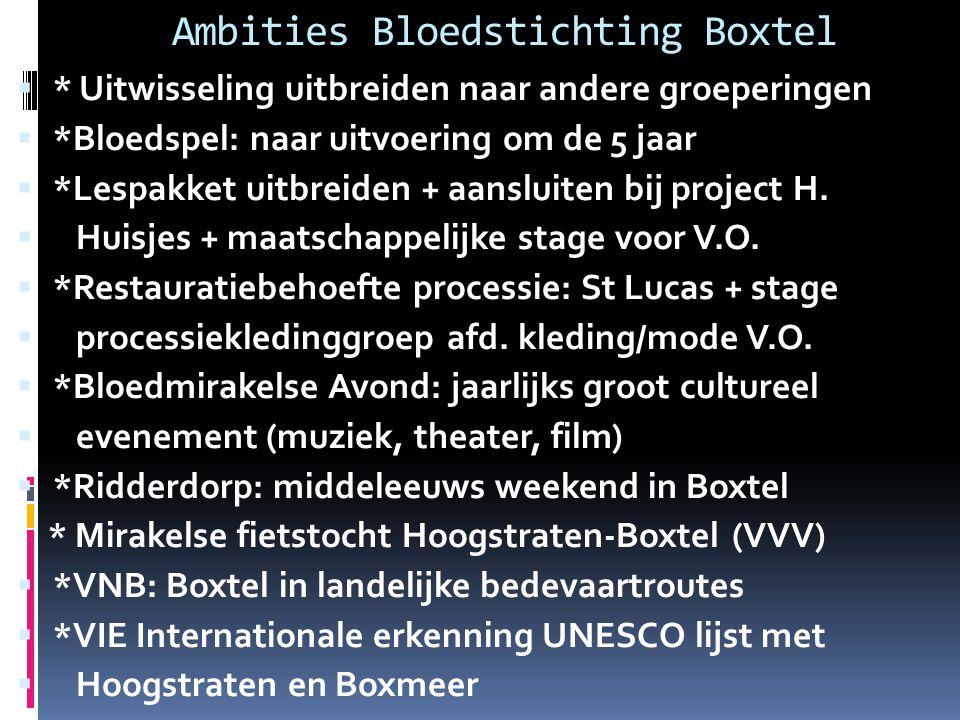 Ambities Bloedstichting Boxtel  * Uitwisseling uitbreiden naar andere groeperingen  *Bloedspel: naar uitvoering om de 5 jaar  *Lespakket uitbreiden + aansluiten bij project H.