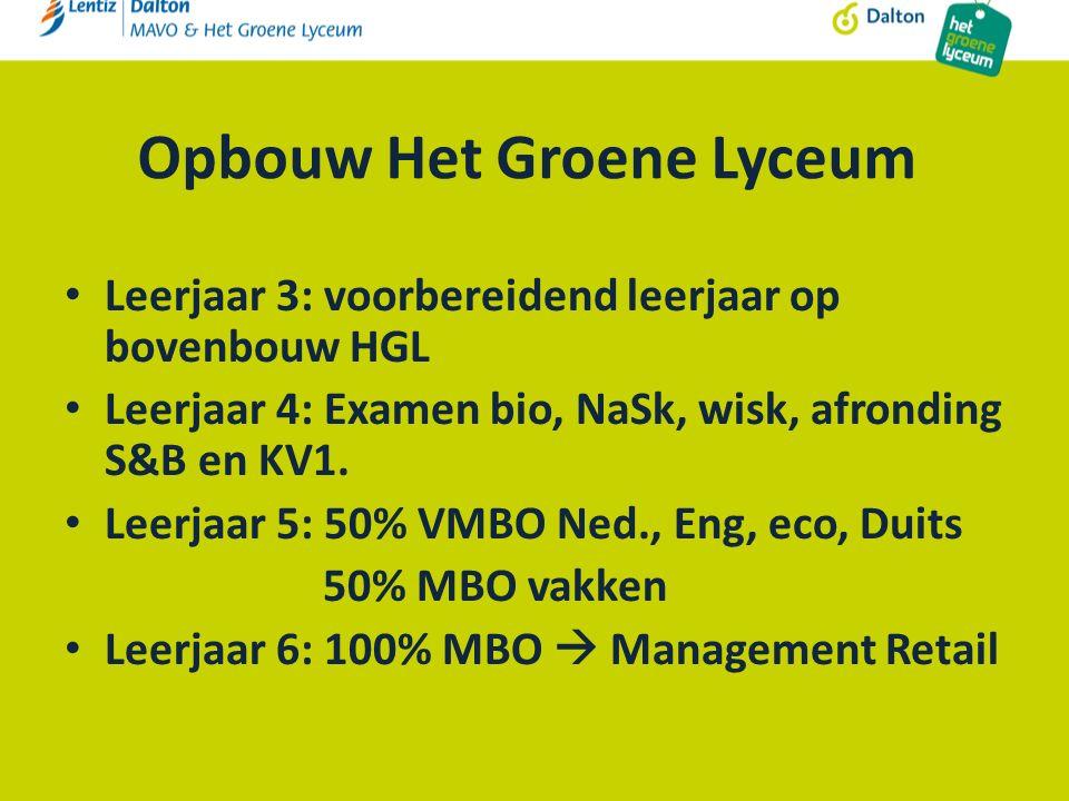 Opbouw Het Groene Lyceum Leerjaar 3: voorbereidend leerjaar op bovenbouw HGL Leerjaar 4: Examen bio, NaSk, wisk, afronding S&B en KV1.