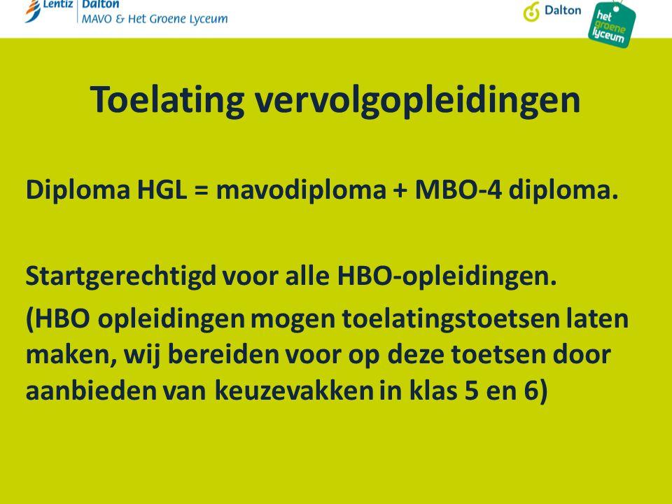 Toelating vervolgopleidingen Diploma HGL = mavodiploma + MBO-4 diploma.