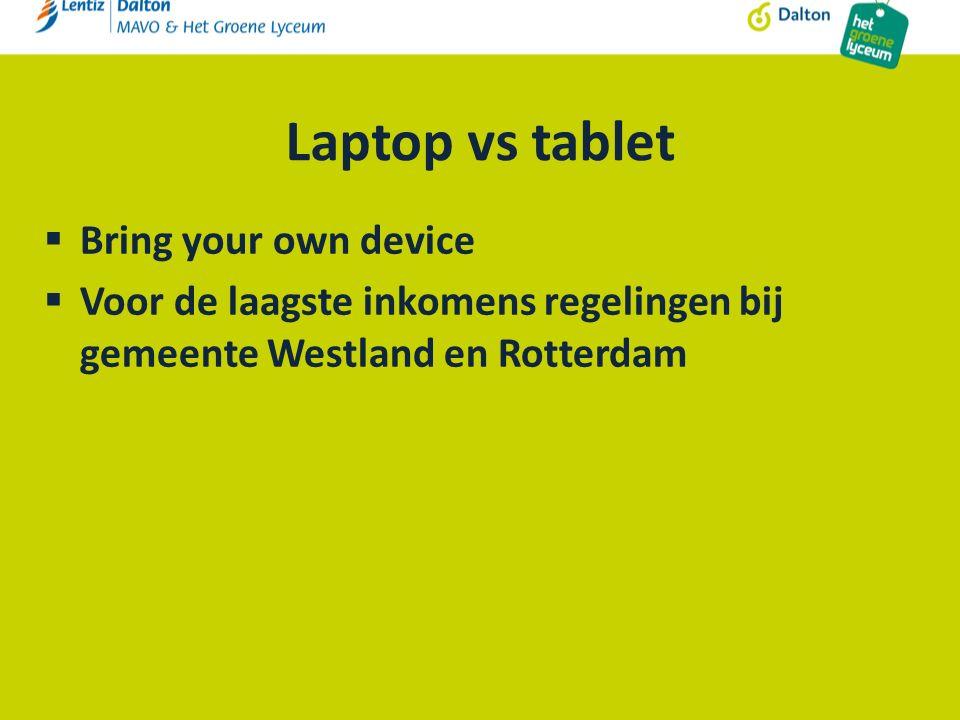 Laptop vs tablet  Bring your own device  Voor de laagste inkomens regelingen bij gemeente Westland en Rotterdam