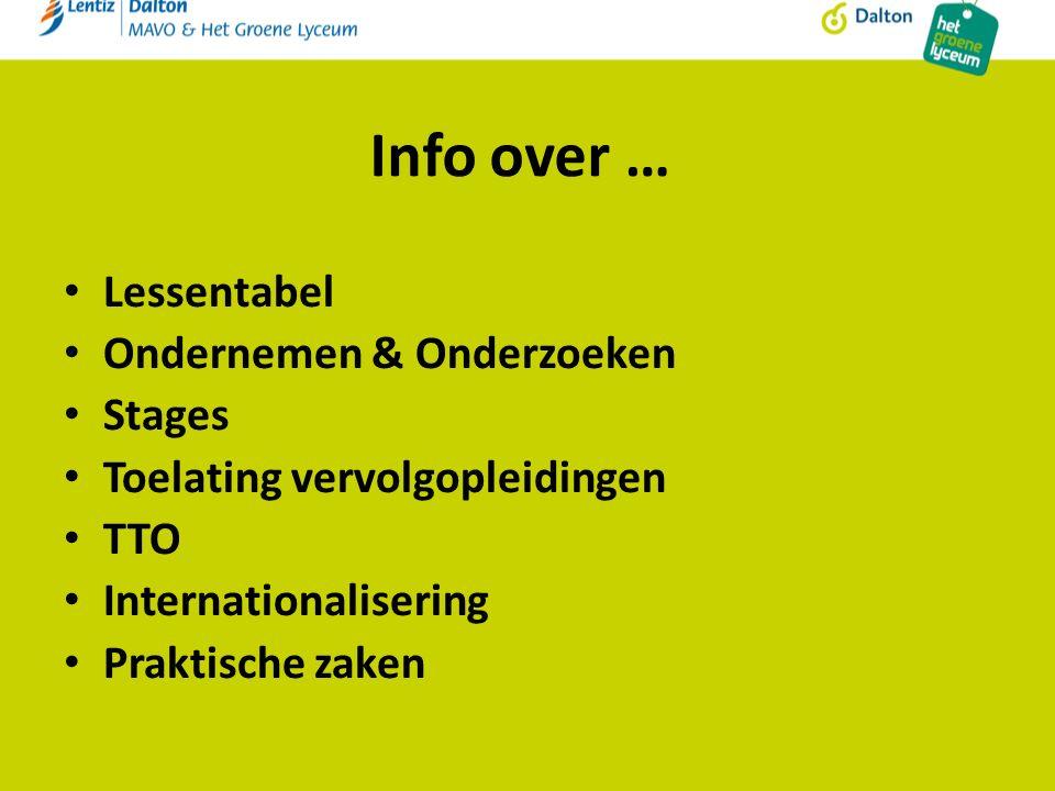 Info over … Lessentabel Ondernemen & Onderzoeken Stages Toelating vervolgopleidingen TTO Internationalisering Praktische zaken