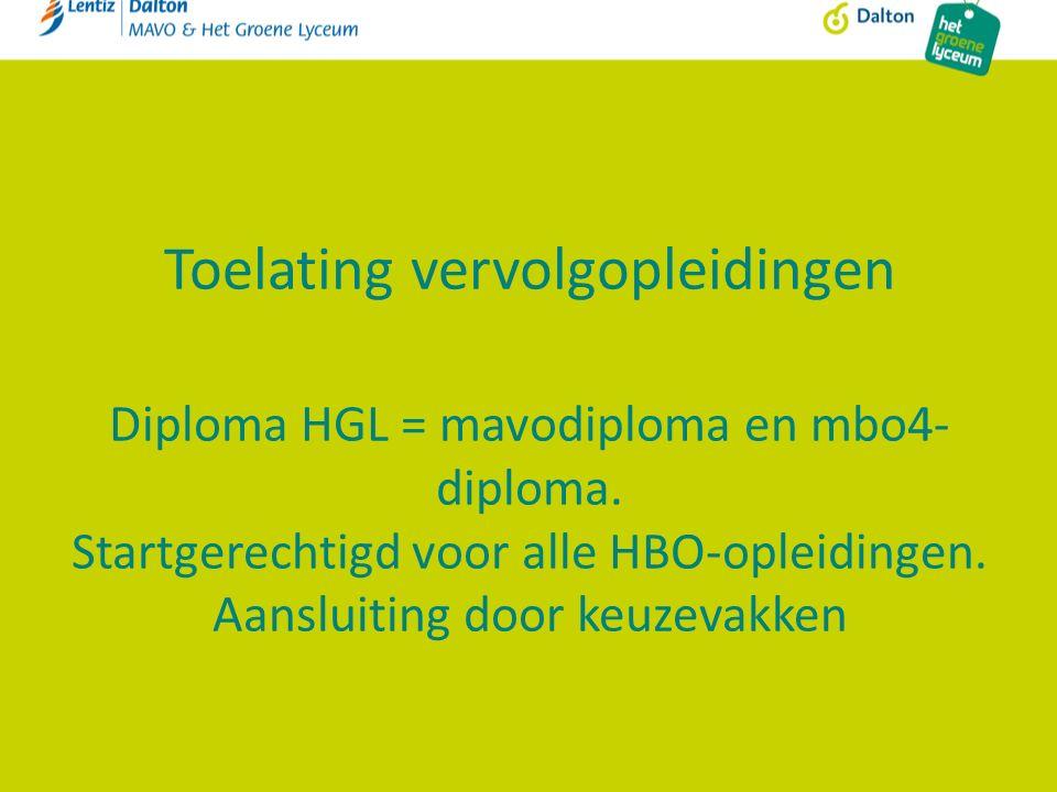 Toelating vervolgopleidingen Diploma HGL = mavodiploma en mbo4- diploma. Startgerechtigd voor alle HBO-opleidingen. Aansluiting door keuzevakken