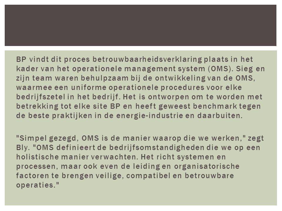 BP vindt dit proces betrouwbaarheidsverklaring plaats in het kader van het operationele management system (OMS).