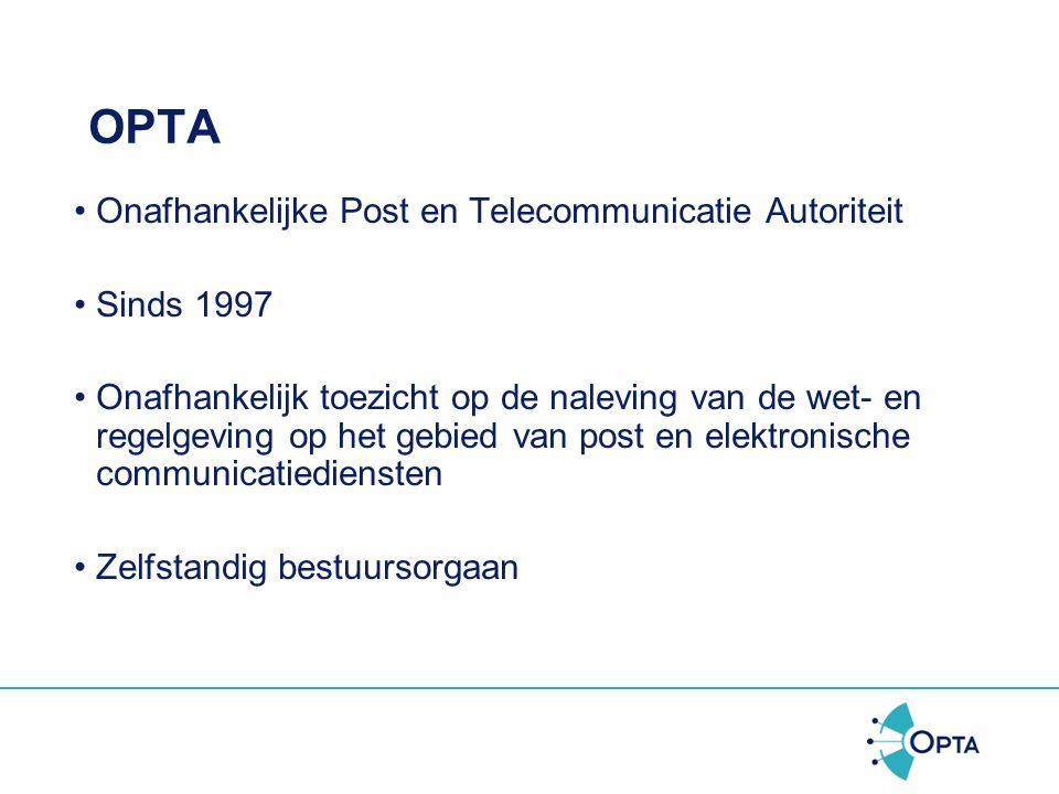 Programma OPTA Uitbreiding spamverbod naar bedrijven Wat mag nog wel? Klachten Handhaving door OPTA
