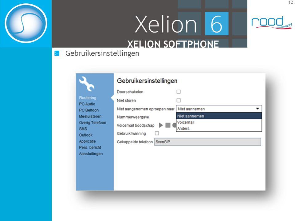 12 XELION SOFTPHONE Gebruikersinstellingen