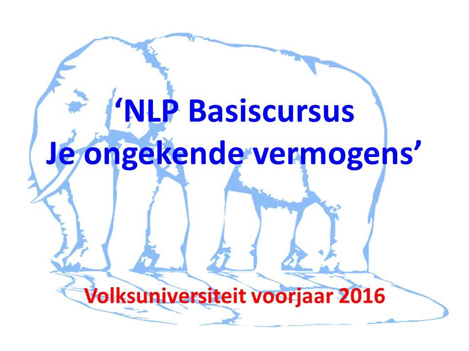 'NLP Basiscursus Je ongekende vermogens' Volksuniversiteit voorjaar 2016