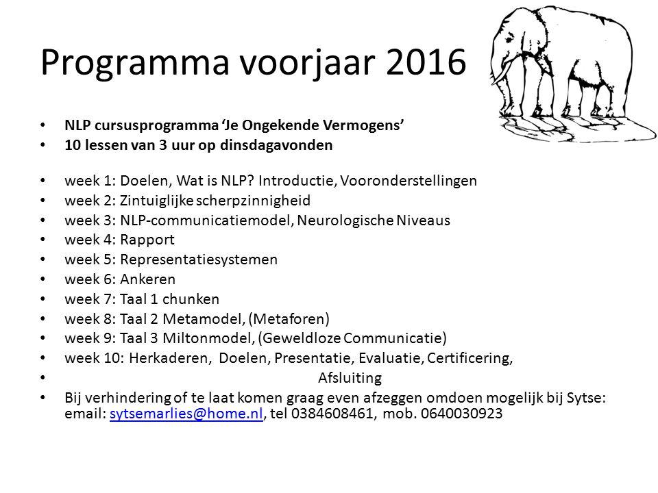 Programma voorjaar 2016 NLP cursusprogramma 'Je Ongekende Vermogens' 10 lessen van 3 uur op dinsdagavonden week 1: Doelen, Wat is NLP? Introductie, Vo